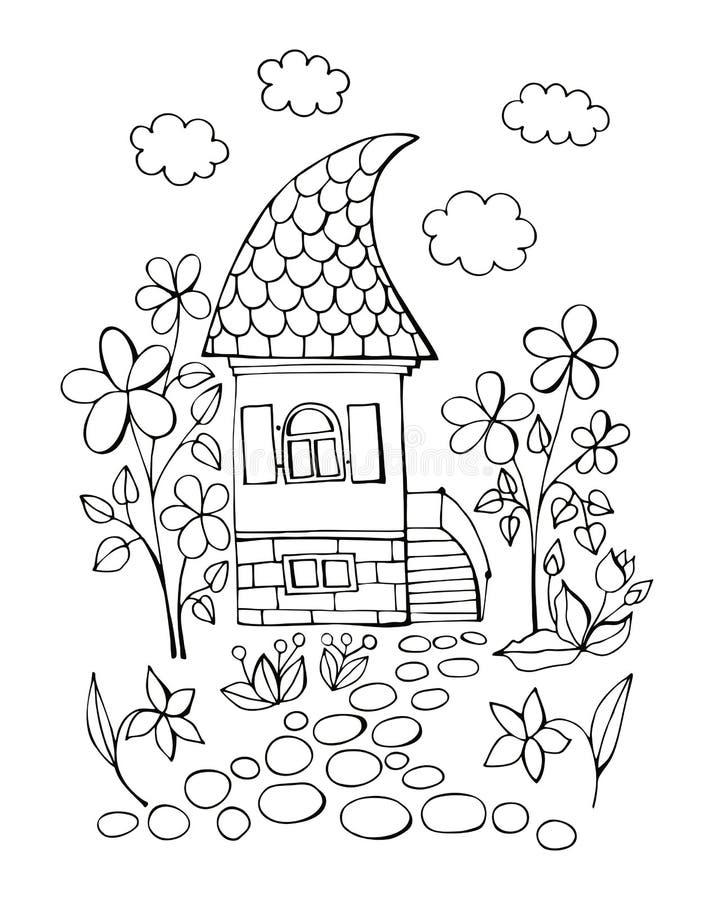 Jour d'été dans le village féerique Livre de coloriage avec la maison et les fleurs mignonnes Illustration noire et blanche de ve illustration libre de droits