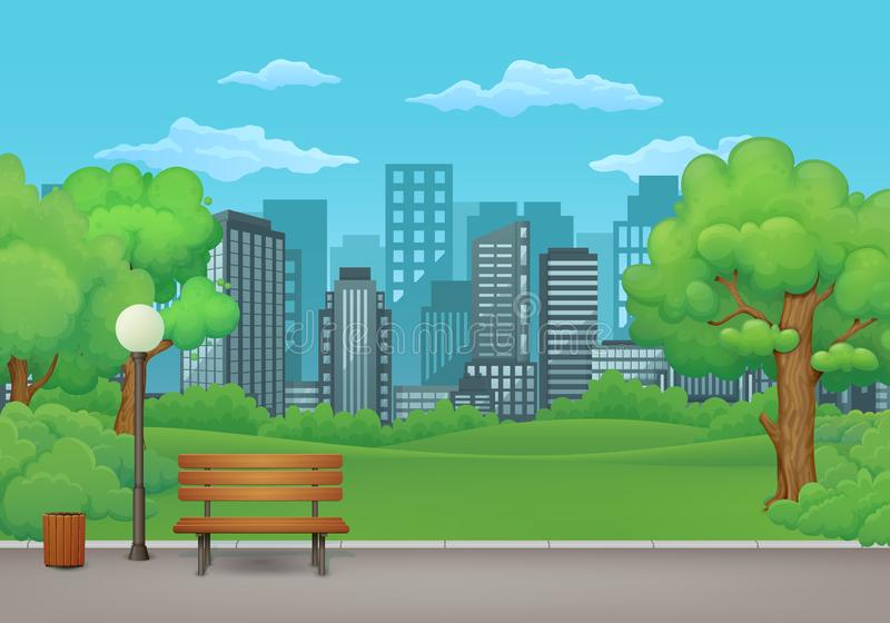Jour d'été en stationnement E paysage urbain à l'arrière-plan illustration de vecteur