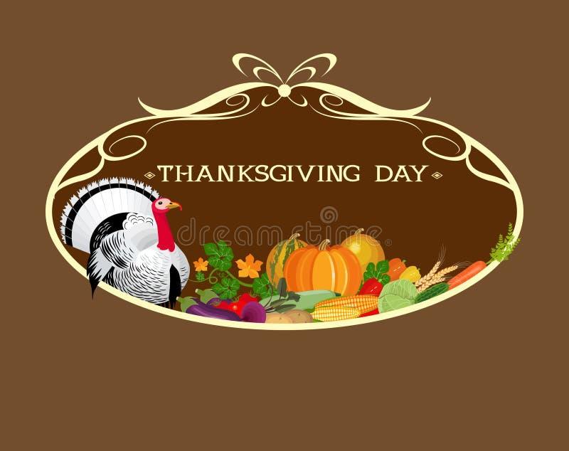 Jour d'action de grâces La Turquie et une abondance de légumes dans le cadre illustration stock