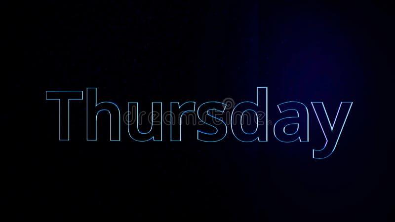 Jour d'animation de semaine jeudi Word jeudi se déplace sur le fond noir Aspect d'Animirovannoe des labels de volume illustration de vecteur