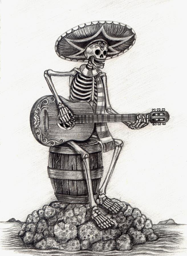 Jour d'art de crâne des morts Retrait de main sur le papier illustration libre de droits