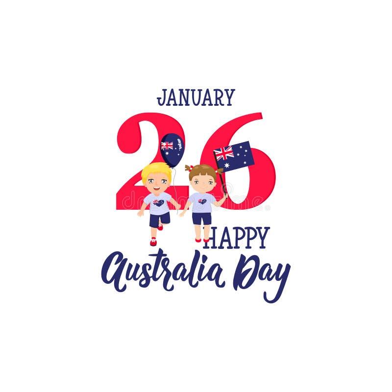 jour d'Australie de vacances nationales le 26 janvier pour la conception graphique Illustration de graphiques de vecteur Enfants  illustration stock