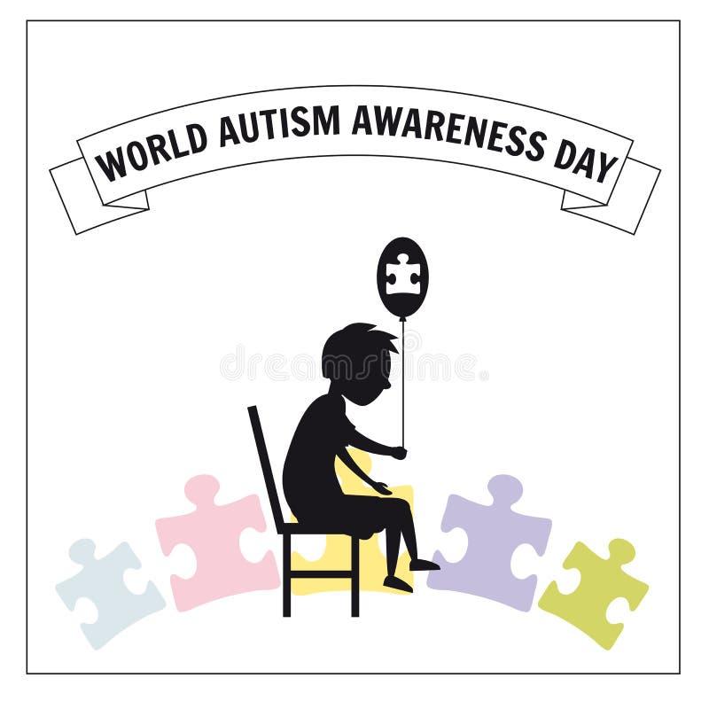 Jour d'autisme du monde, un petit garçon seul s'assied sur une chaise, sur un fond des puzzles, vecteur, illustration, d'isolemen illustration libre de droits