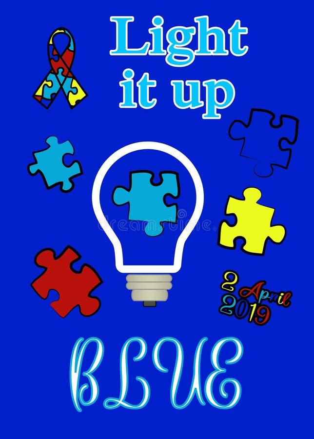 Jour d'autisme Soutien des enfants avec l'autisme T-shirt illustration de vecteur