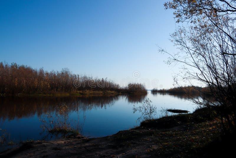 Jour d'automne dans Arkhangelsk Île Krasnoflotsky La réflexion dans l'eau photographie stock libre de droits