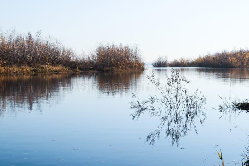 Jour d'automne dans Arkhangelsk Île Krasnoflotsky La réflexion dans l'eau photographie stock