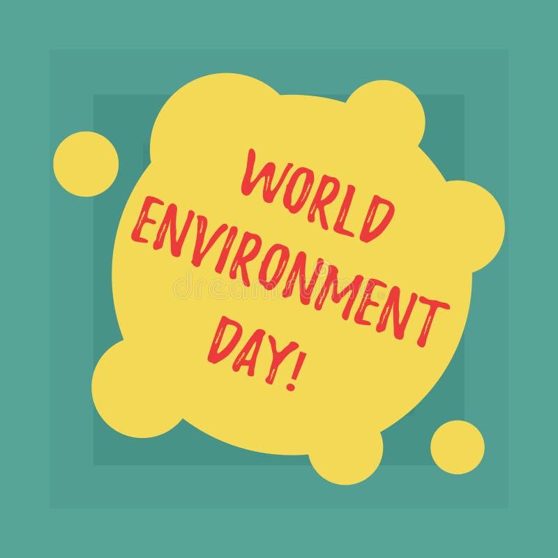 Jour d'environnement conceptuel du monde d'apparence d'écriture de main Conscience de présentation de photo d'affaires et la prot illustration stock