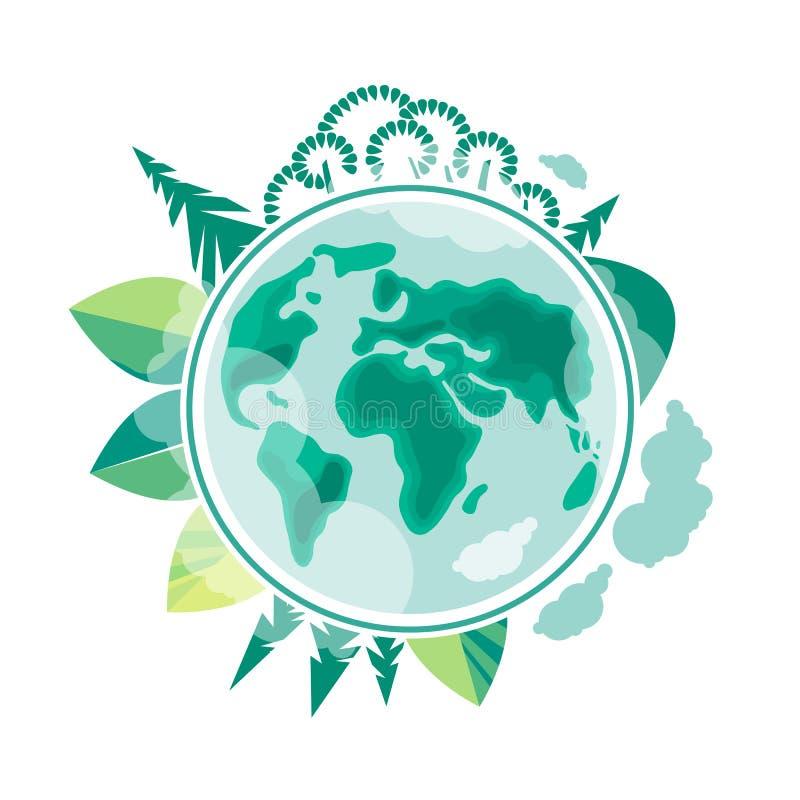Jour d'environnement du monde Jour de terre Écologie et conservation de la planète illustration stock