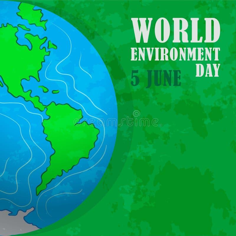Jour d'environnement du monde Notre terre à la maison de planète Environnement favorable, protection de nature illustration stock