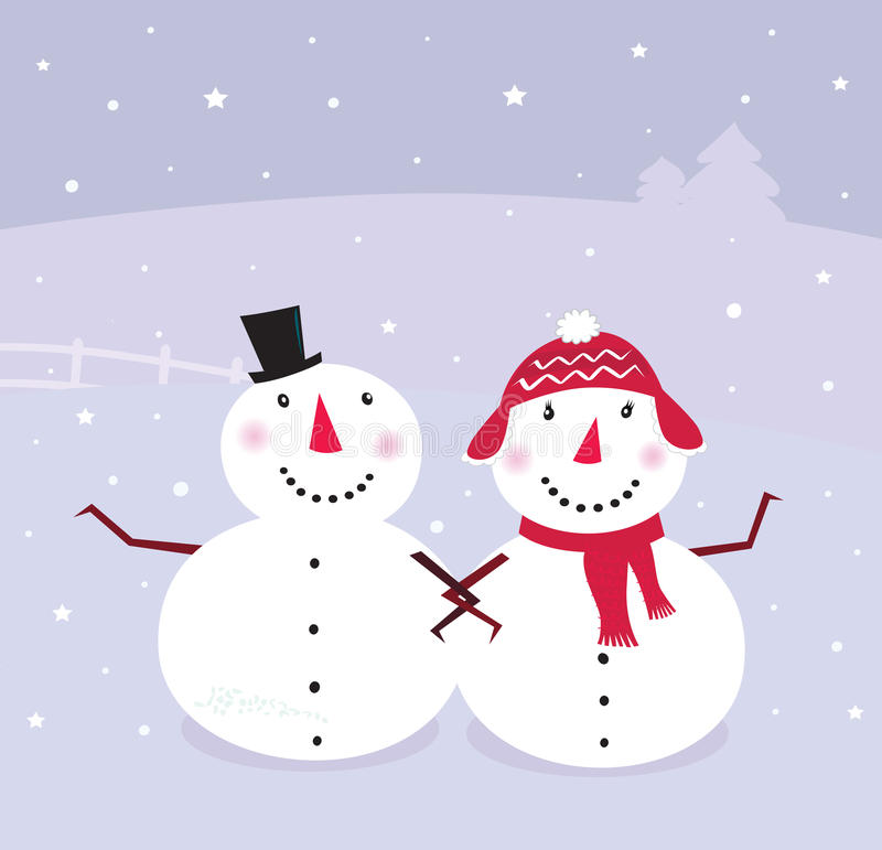 Jour d'hiver : Bonhomme de neige et neige - femme,   illustration de vecteur