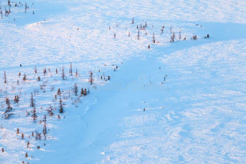 Jour d'hiver court de toundra congelée, vue supérieure photo libre de droits