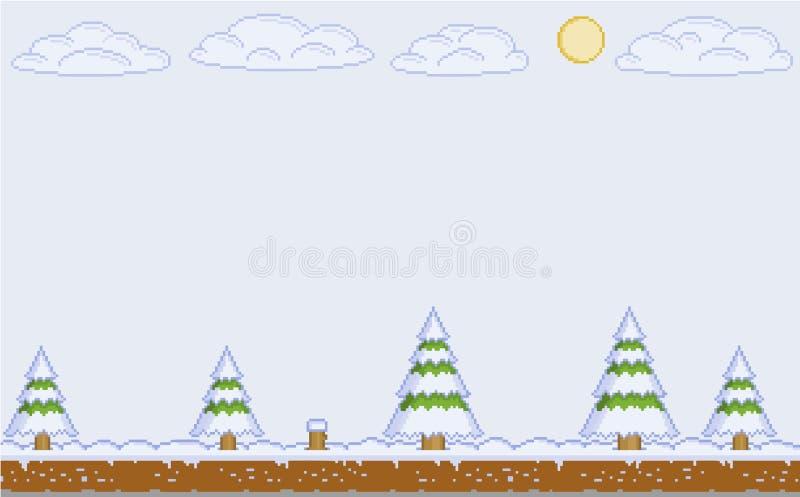 Jour d'hiver d'art de pixel de vecteur pour des jeux vidéo illustration libre de droits
