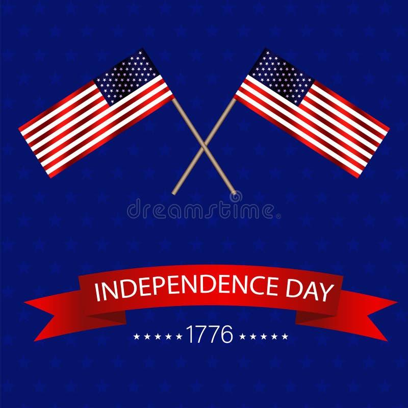 Jour d'indépendants des Etats-Unis d'Amérique Deux drapeaux de ondulation sur 4 de juillet Illustration EPS10 de vecteur illustration de vecteur