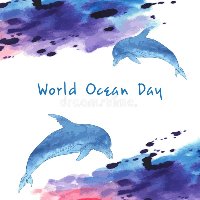 Jour d'océan du monde Image stylisée de l'eau Frontière sous forme de vagues Dauphin bleu, tiré par la main Tache d'aquarelle illustration libre de droits