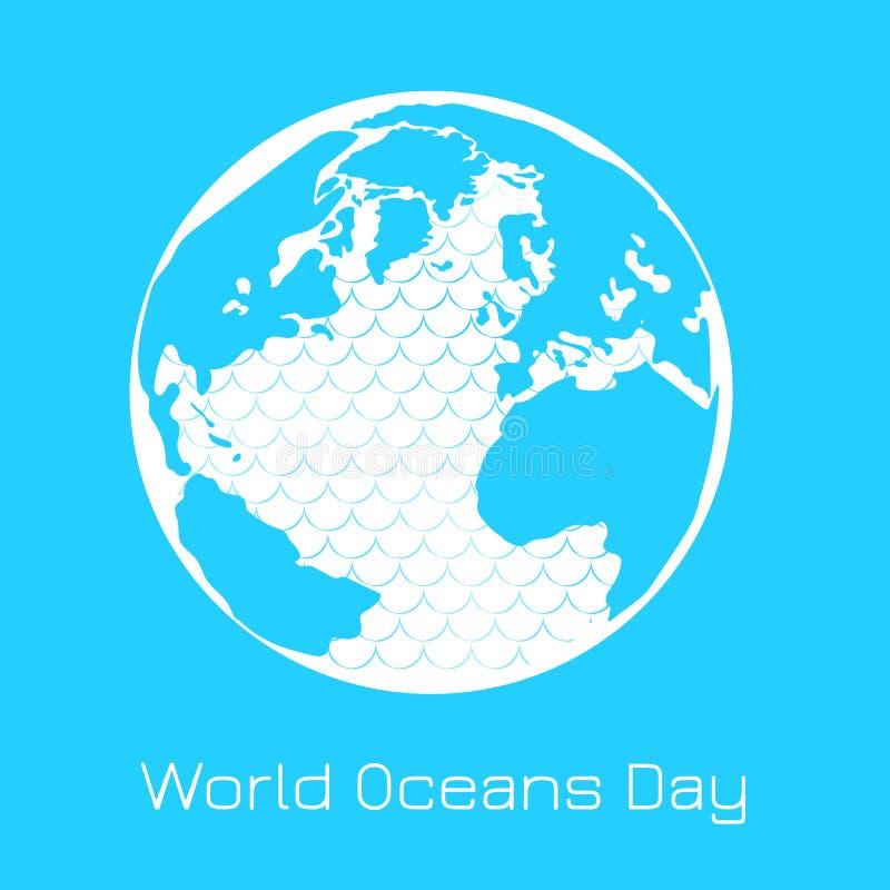 Jour d'océans du monde La terre de planète, continents, îles, océan avec des vagues illustration stock