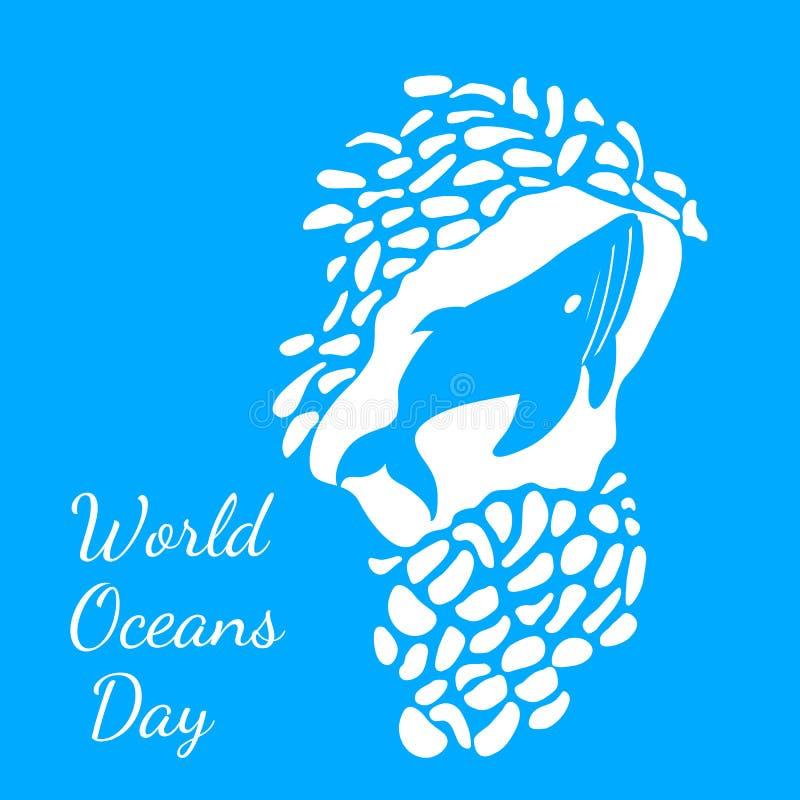 Jour d'océans du monde Vue d'une caverne sous-marine, baleines illustration stock