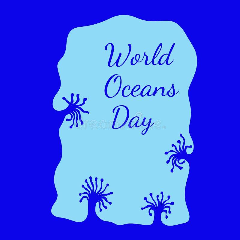Jour d'océans du monde Vue d'une caverne sous-marine, coraux illustration stock