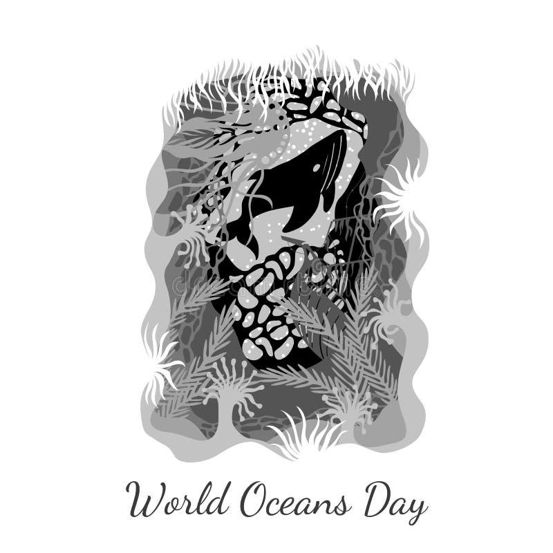 Jour d'océans du monde Vue d'une caverne sous-marine - les usines, coraux, bateau submergé, méduse, baleines Aux nuances du gris illustration stock