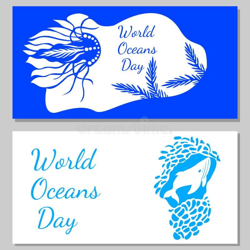 Jour d'océans du monde Vue d'une caverne sous-marine - les usines, méduses, baleines illustration stock