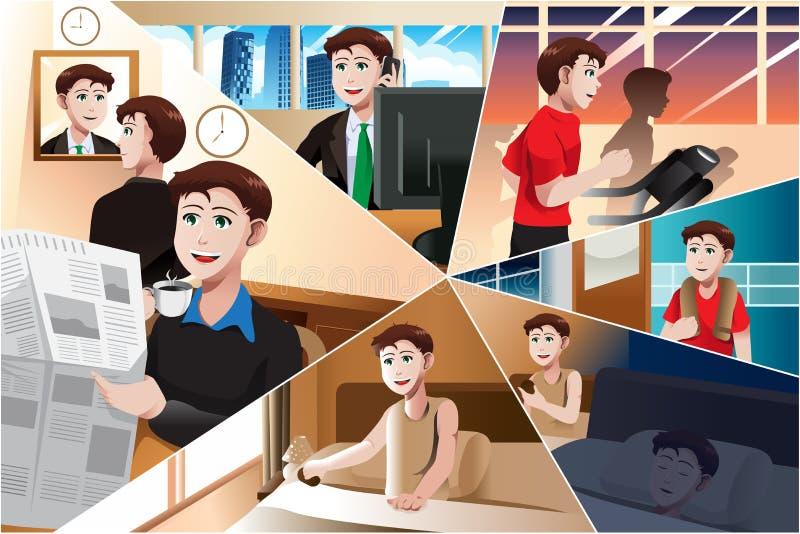 Jour dans la vie d'un homme moderne illustration stock