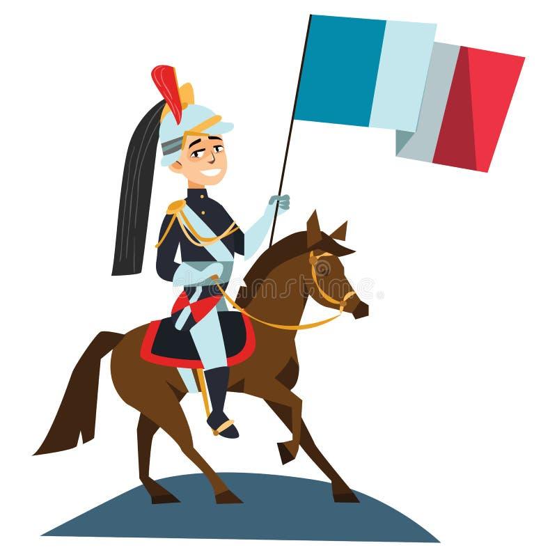 Jour de bastille heureux de défilé de gardes de cheval 14 juillet Français créatif d'illustration de vecteur de Frances vive de L illustration libre de droits