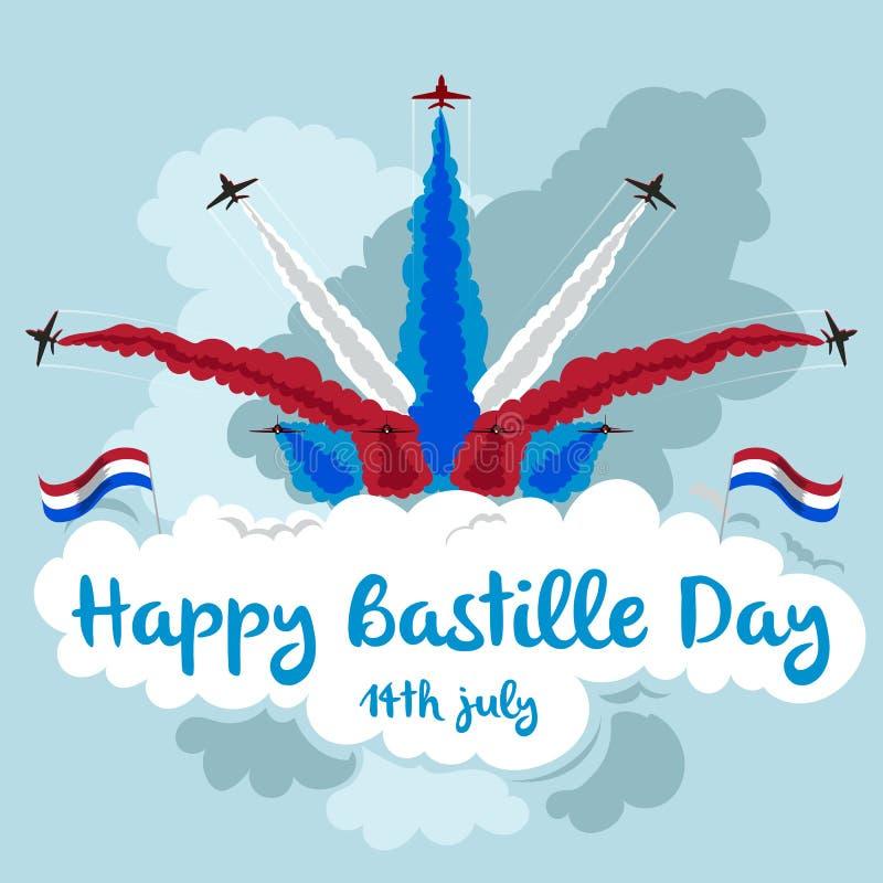 Jour de bastille heureux Illustration des avions à réaction volant dans la formation Thème rouge, blanc et bleu illustration stock