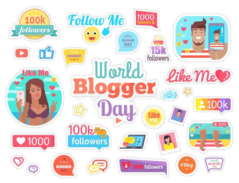 Jour de Blogger du monde avec 100 disciples sur le blanc illustration libre de droits