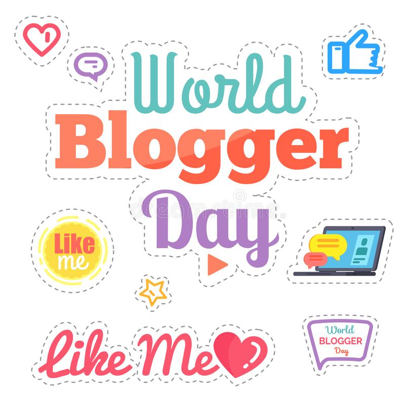 Jour de Blogger du monde comme moi vecteur d'isolement par affiche illustration de vecteur