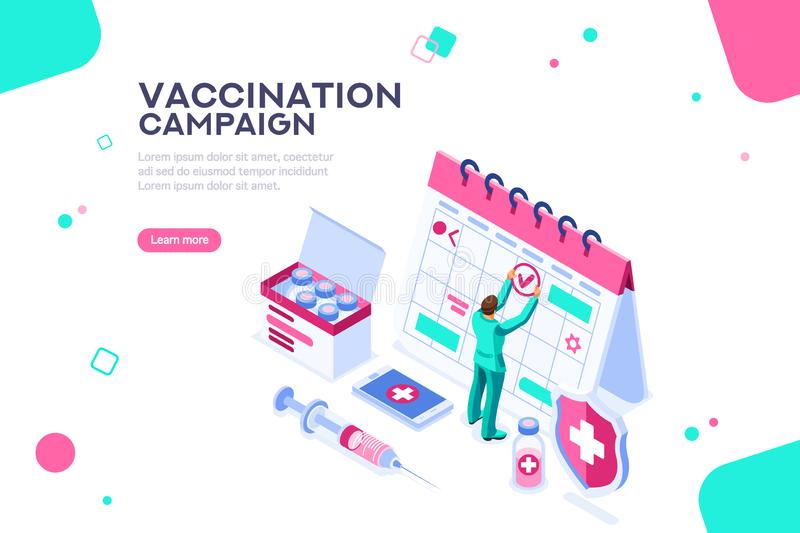 Jour de calibre de site Web d'affiche de campagne de vaccination illustration de vecteur