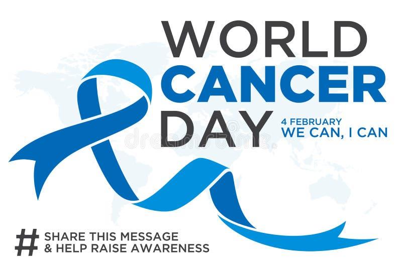 Jour de cancer du monde marquant avec des lettres la conception d'élément avec le ruban bleu de couleur sur le fond blanc illustration stock