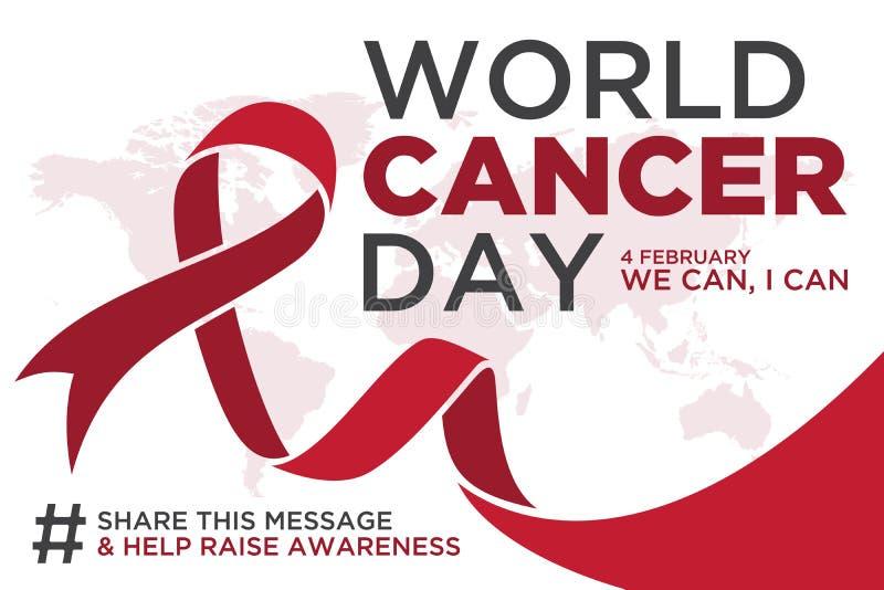 Jour de cancer du monde marquant avec des lettres la conception d'élément avec le ruban de couleur rouge sur le fond blanc illustration libre de droits