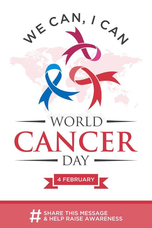 Jour de cancer du monde marquant avec des lettres la conception d'élément avec le ruban différent de couleur sur le fond blanc illustration stock