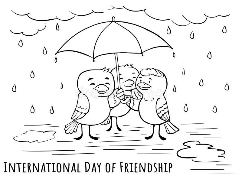 Jour de carte de voeux de l'amitié - sous des umbrells avec fri illustration stock