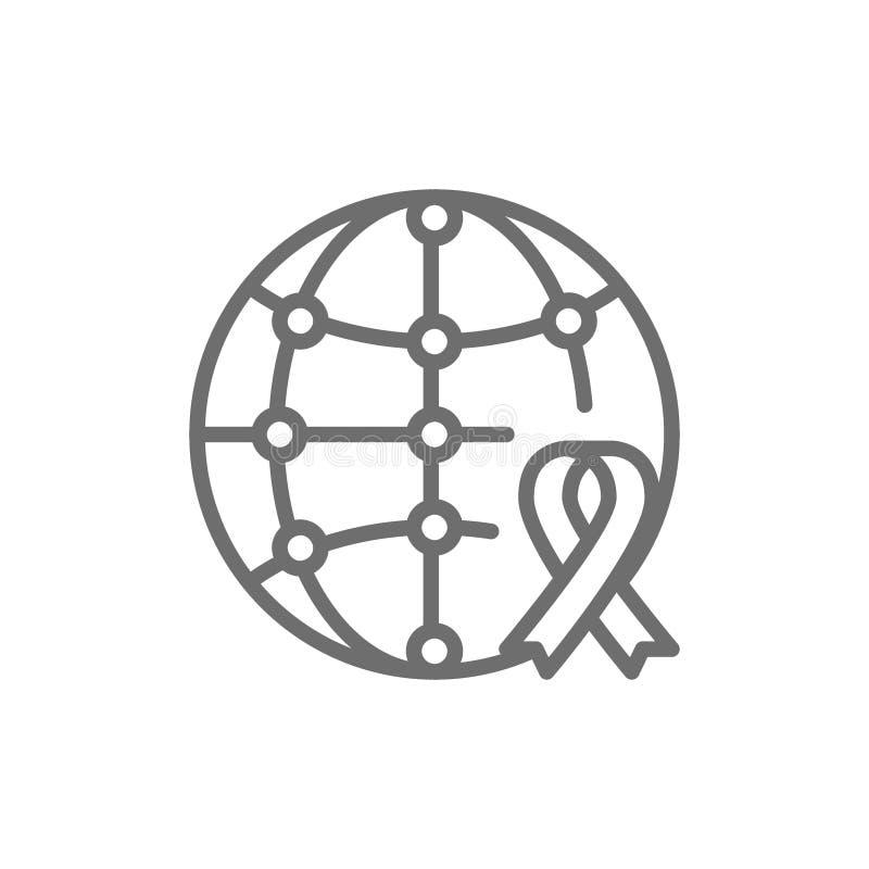Jour de charité du monde, globe avec le ruban de conscience, donation, offrant la ligne icône illustration de vecteur