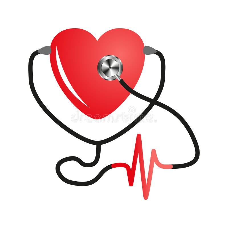Jour de coeur du monde Stéthoscope de coeur Vecteur plat sur le fond blanc d'isolement Conception de service médical, cardiogramm illustration libre de droits