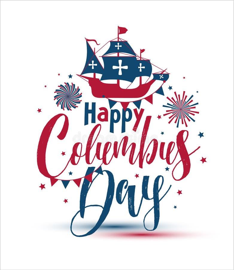 Jour de Columbus heureux La calligraphie de tendance Dirigez l'illustration sur le fond blanc, grande carte de cadeau illustration stock