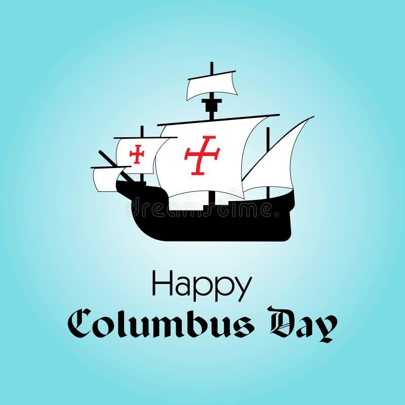 Jour de Columbus heureux La calligraphie de tendance Illustration de vecteur sur le fond bleu Grande carte de cadeau illustration de vecteur