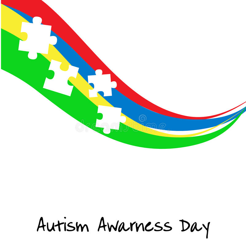 Jour de conscience d'autisme Calibre de carte ou d'affiche Illustration de vecteur illustration de vecteur
