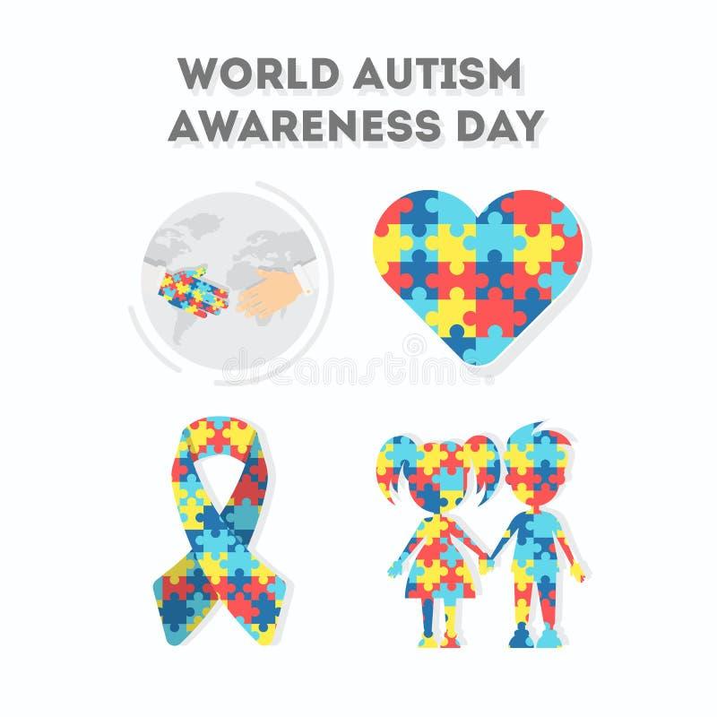 Jour de conscience d'autisme du monde illustration de vecteur