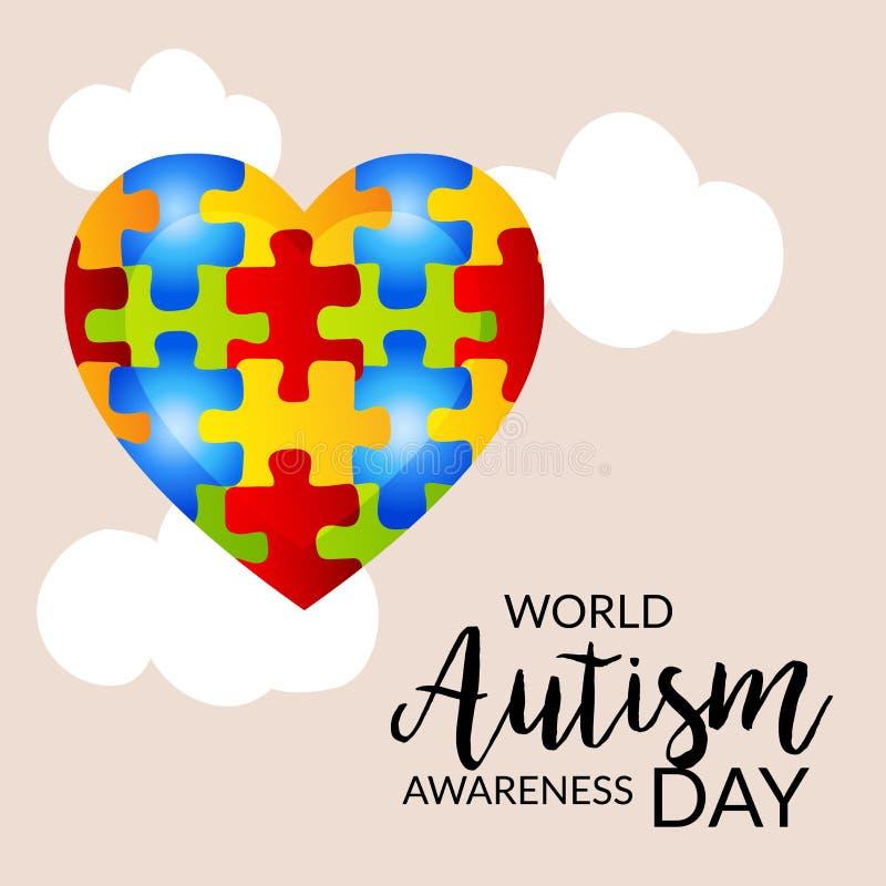 Jour de conscience d'autisme du monde illustration libre de droits