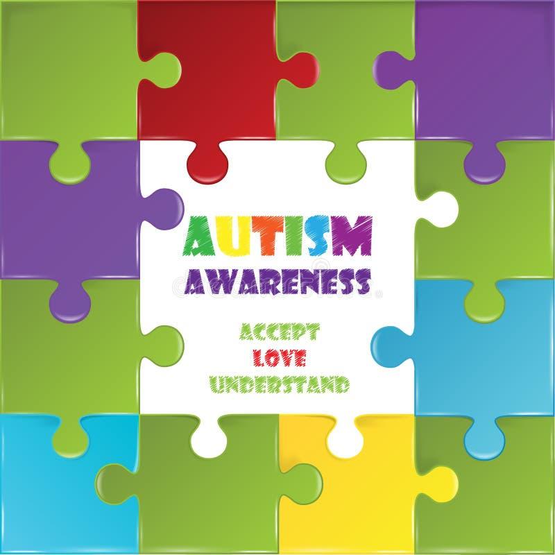 Jour de conscience d'autisme du monde avec le puzzle coloré illustration stock