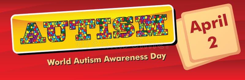Jour de conscience d'autisme du monde de bannière illustration libre de droits
