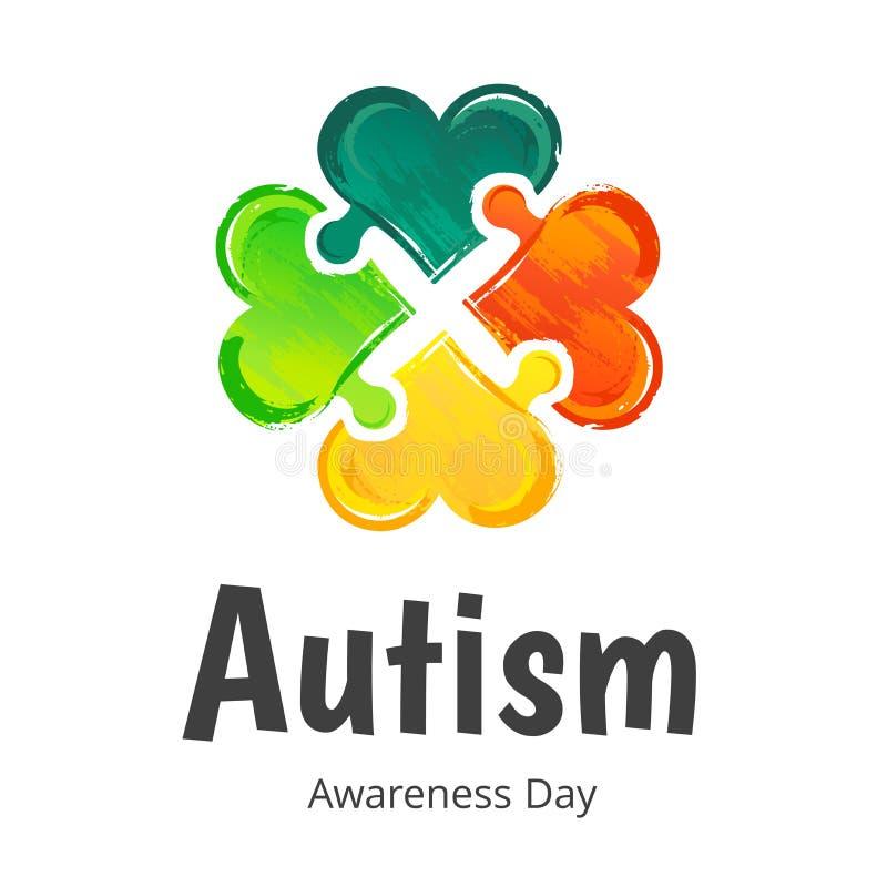 Jour de conscience d'autisme Empreinte digitale illustration stock