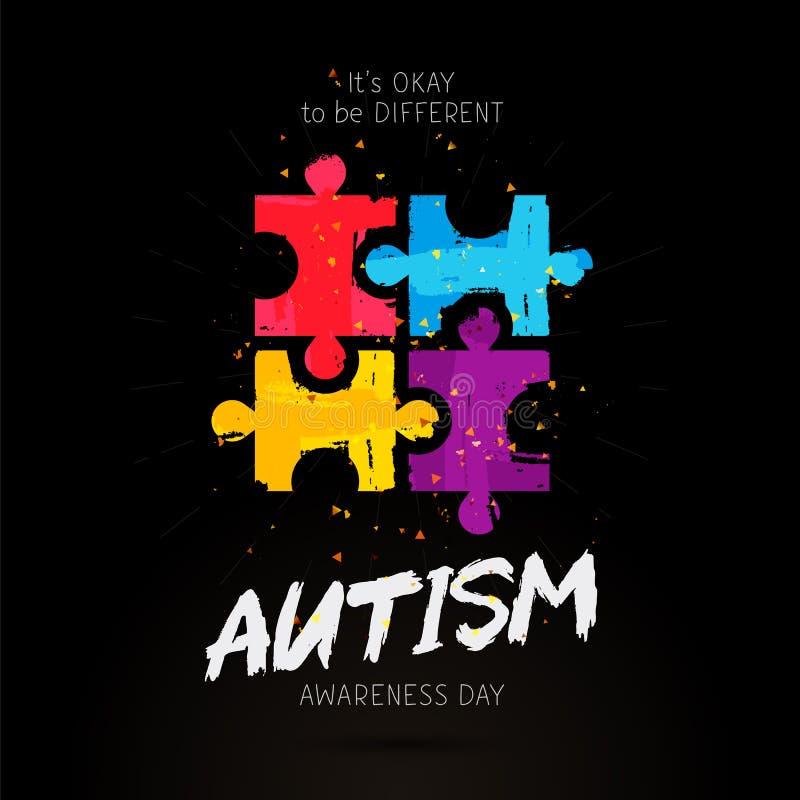 Jour de conscience d'autisme Il ok du ` s à être différent illustration de vecteur