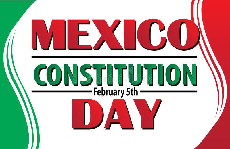 Jour de constitution du Mexique avec le drapeau mexicain illustration stock
