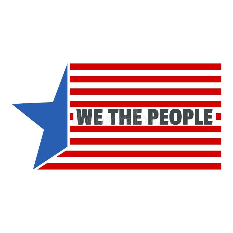 Jour de constitution nous icône de logo de personnes des Etats-Unis, style plat illustration stock