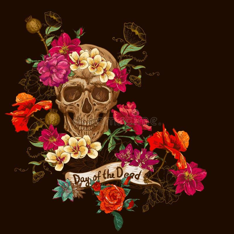 Jour de crâne et de fleurs des morts illustration stock