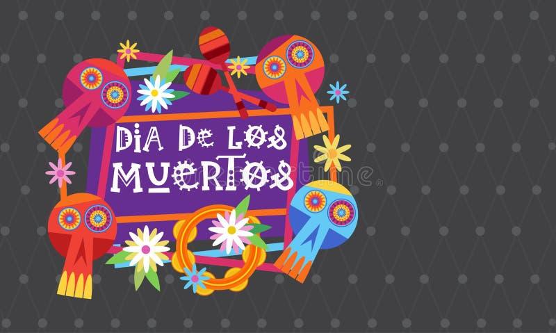 Jour de décoration traditionnelle morte de Halloween Dia De Los Muertos Holiday Party de Mexicain illustration libre de droits