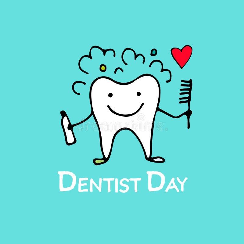 Jour de dentiste, croquis de caractère de dent pour votre conception illustration de vecteur