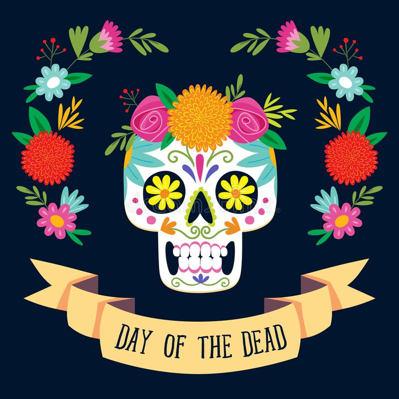 Jour de ` de Dia de los Muertos de ` de la carte morte illustration stock